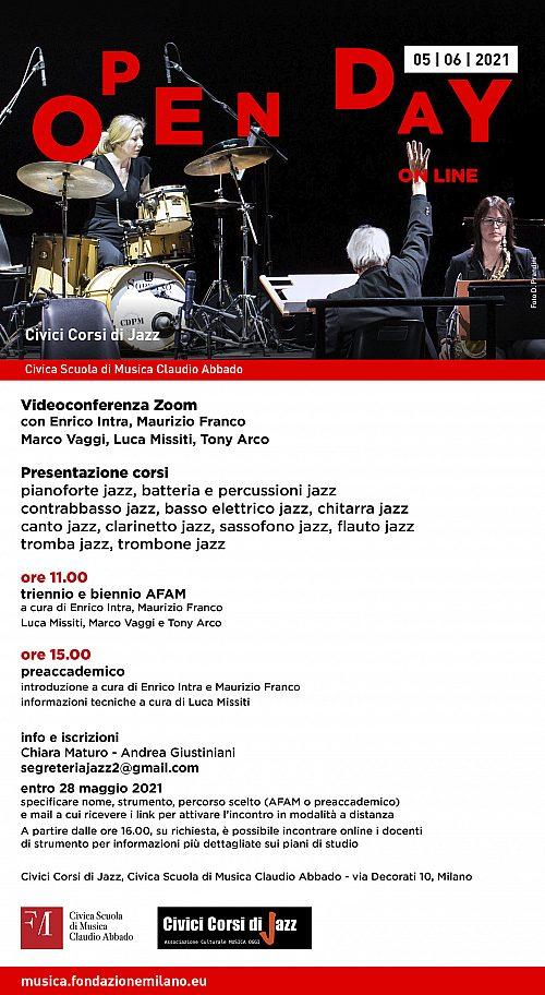 5 giugno 2021 Open day Civici Corsi di Jazz